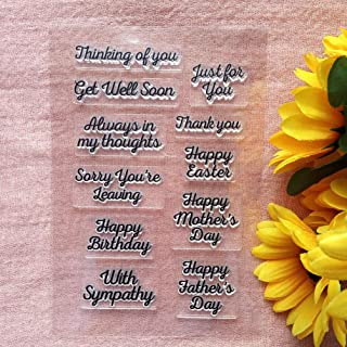 GAWEI Words Happy Birthday with Sympathy Clear Stamps Sentiments for Card Making and DIY Scrapbooking Transparent Stamps S...