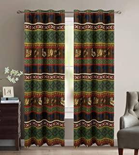 Rustic Western Native American Designs W/Grizzly Bears and Pinecone Prints Window Curtain Treatment Drapes with Thermal Insulation and Grommets in Brown Green - Bear Thermal Curtain Set