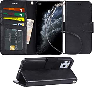 Arae Case for iPhone 11 Pro PU Leather Wallet Case Cover [Stand Feature] with Wrist Strap and [4-Slots] ID&Credit Cards Pocket for iPhone 11 Pro 5.8 inch 2019 Released - Black