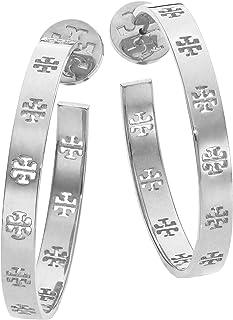 Tory Burch Pierced-T Earring Silver Hoops