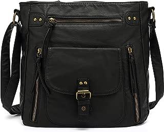 Medium Crossbody Shoulder Bag for Women, Ultra Soft Washed Vegan Leather, H2005