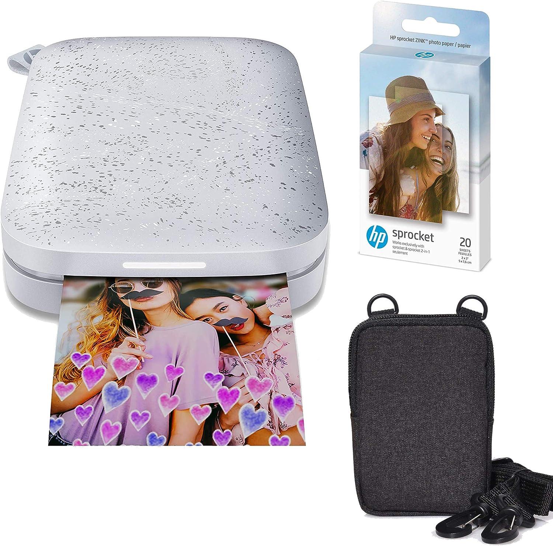 HP Sprocket Portable 2x3 Instant Photo Printer (Luna Pearl) Zink Paper Bundle