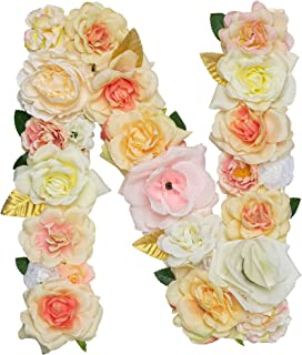 Jonhans8 Artificial Decorative Letter with Flowers, Champagne, 12.2
