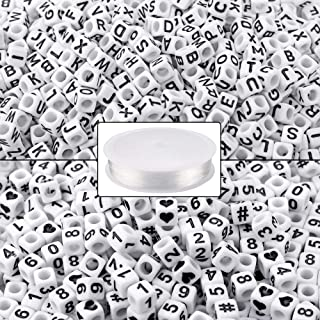1000PCS White Letter and Alphabet Number Cube Beads with 1 Roll Elastic Crystal String Cord for Jewelry Making DIY Necklace Bracelet (6mm)