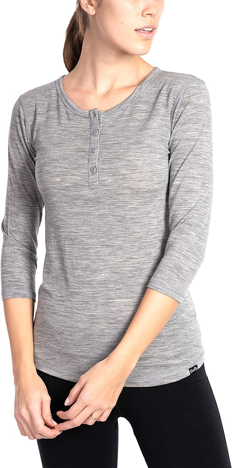 Woolly Recommendation Clothing Co. Women's Merino Wool 4 Safety and trust Henley Sleeve Ultr 3 -