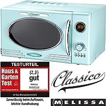 *Melissa 16330122 Retro Classico Mikrowelle / 900 Watt Mikro-1000 Watt Grill / 25 Liter Garraum / Design Mikrowelle mit Grill Funktion / Peppermint*