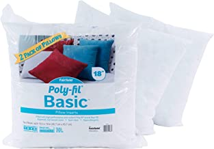 Fairfield Poly-Fil Basic Insert for Décor and Throw Pillows (2 Pack), 18 x 18