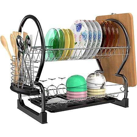 Astory Séchoir à vaisselle, motif 2animaux, en acier inoxydable, égouttoir à vaisselle, organiseur pour évier de cuisine, compteur de rangement