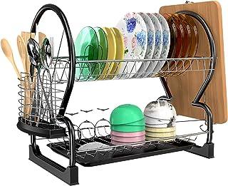 Égouttoir à Vaisselle, Astoryou Support à Vaisselle à 2 Niveaux, étagères à Vaisselle de Cuisine, Organisateur d'égouttoir...