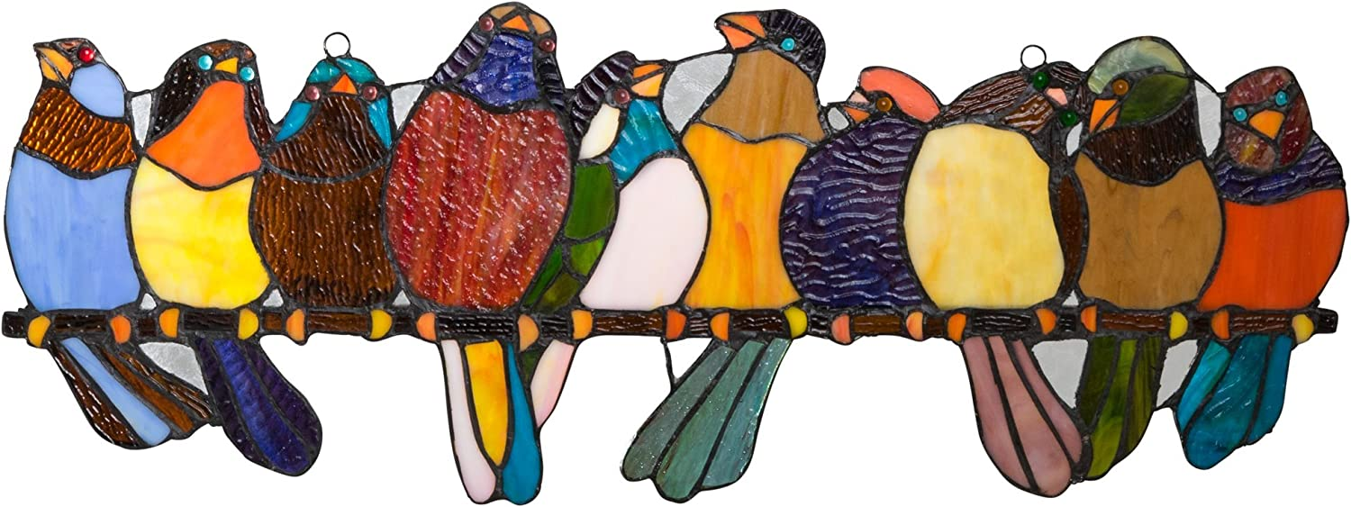 River of Goods Bird Suncatcher  Stained Glass Birds on a Wire Hanging Sun Catcher Window Panels