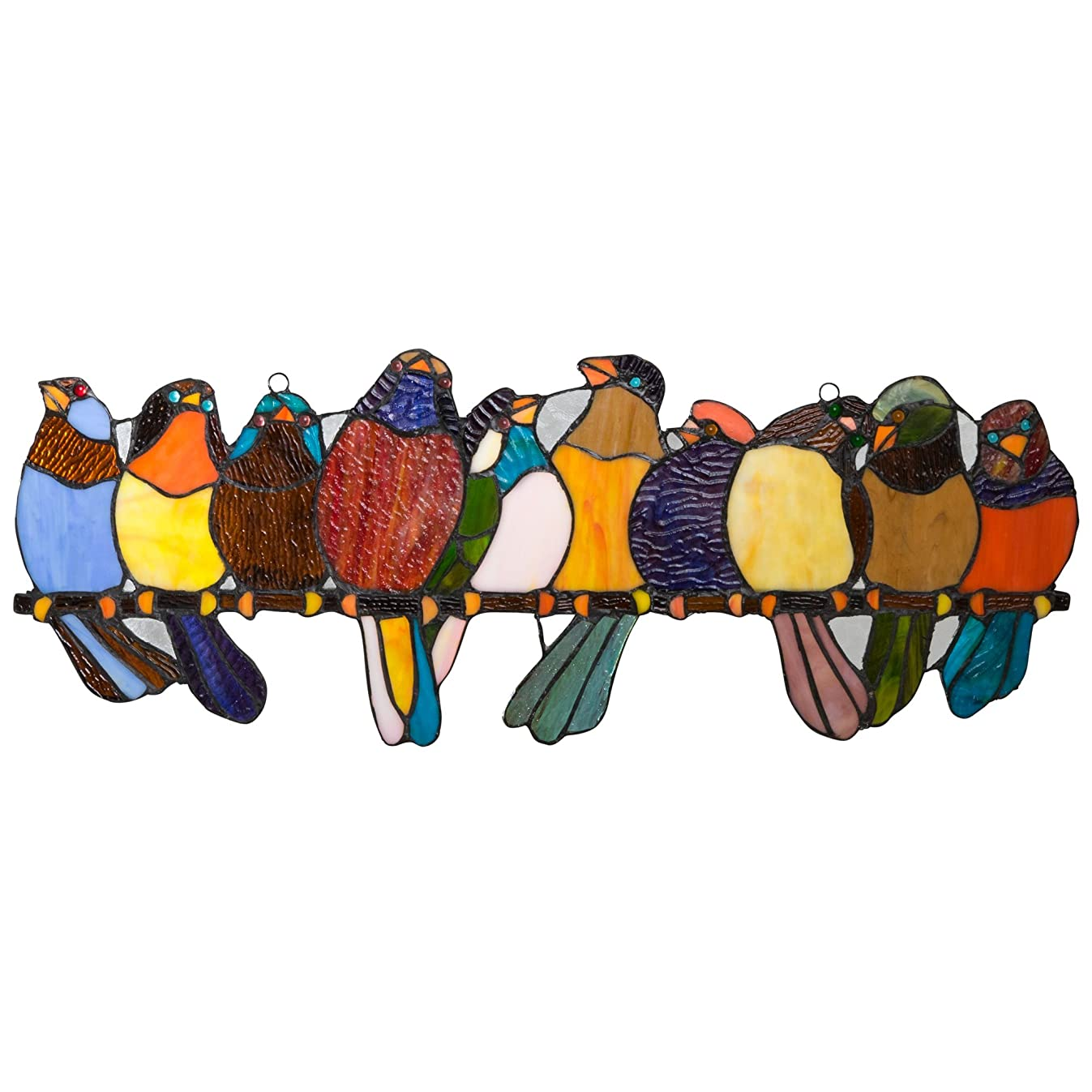 River of Goods Bird Suncatcher: Stained Glass Birds on a Wire Hanging Sun Catcher Window Panels