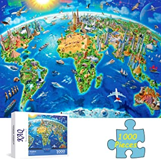 Jigsaw Puzzle for Adults 1000 Pieces, World Landmarks Map, Intellective Educational Decompressed Gift Fun Interesting Fami...