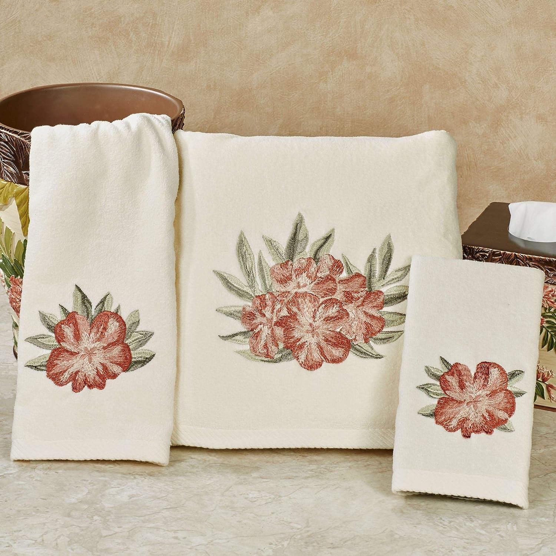 Aqua Blue 3 Piece Embroidered Flower Bath Hand and Fingertip Towel Set