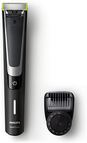 Philips OneBlade Pro Rechargeable Wet and Dry Electric Shaver for Trim, Edge and Shave with Adjustable Comb, Black/Si...