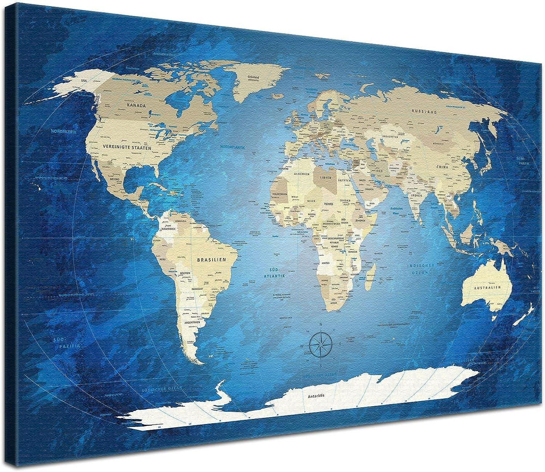 """LANA KK - Weltkarte Leinwandbild mit Korkrückwand zum pinnen der Reiseziele – World Map Blau Ocean"""" - deutsch - Kunstdruck-Pinnwand Globus in blau, einteilig & fertig gerahmt in 100x70cm"""
