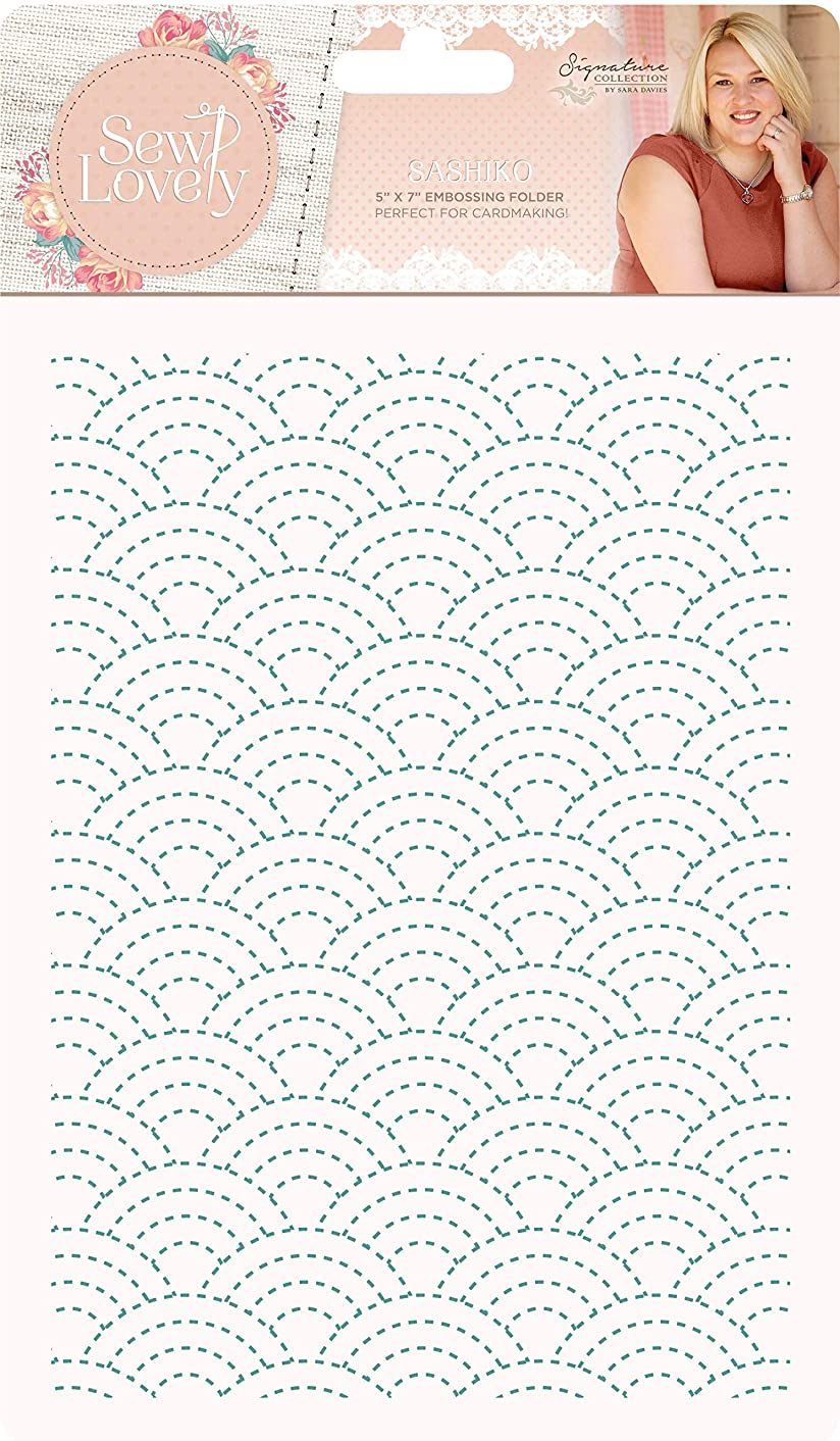 Sara Signature Collection S-SL-EF5-SASH Sara Signature-Sew Lovely-5x7 Sashiko Embossing Folder, 5-inch x 7-inch, Clear