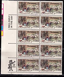 1976 CHRISTMAS WINTER PASTIMES - CURRIER (Overall Tag) #1702 Plate Block of 10 x 13 cents US Postage Stamps