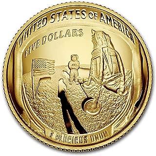 2019 W Apollo 11 50th Anniversary $5 Gold Proof (Box & COA) G$5 Brilliant Uncirculated