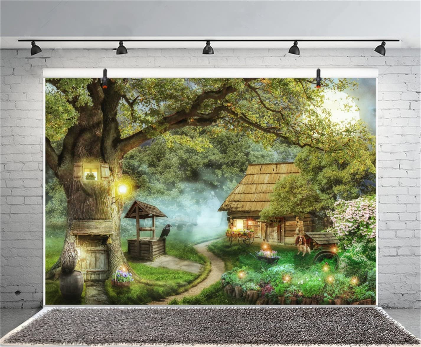 Zhy ForeTree House Backdrop for Photography 7x5ft 2.1x1.5m Cabin Scarecrow Gift Background Party Decor Supplies Photo Shooting Props BJYYST3