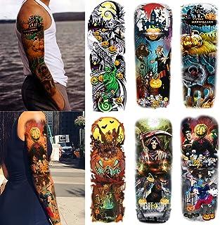 Leoars Halloween Sleeve Temporary Tattoos, Nightmare Before Christmas Large Full Arm Tattoos Sleeve, 6-Sheet Fake Nightmar...