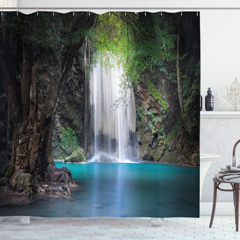 Mountain Waterfall Green Jungle Dinosaur Polyester Fabric Shower Curtain Hooks