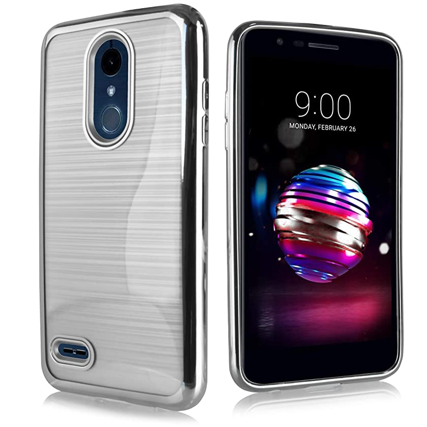 Compatible fit for LG K10 (2018 Release) MS425/ X410/ LG K30/ K10+ 2018/ Premier Pro LTE Brushed Aluminium Finish Protective Slim Chrome Hard Case [Metal Slim Series] (Silver)