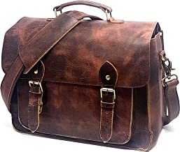 Full Grain Leather DSLR Camera Bag, Multipurpose Real Hunter Leather 15-Inch Briefcase, Shoulder Messenger Satchel Fits 15.6-Inch Laptop with Removable Insert