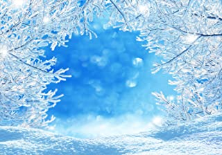 LTLHY 5x7ft Winter Snow Frozen Tree Backdrop for Photography Christmas White Blue Ice Glitter Snowflake Wonderland Vinyl Background Professional Newborn Baby Portrait Photo Studio Photobooth Props 069