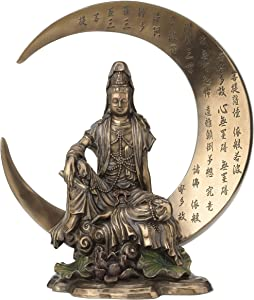 Guan Yin Sitting on Crescent Moon with Heart Sutra Statue Sculpture - Bodhisattva