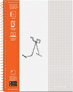 Whitelines Notebook, Grey Lined Graph Paper, 8.5