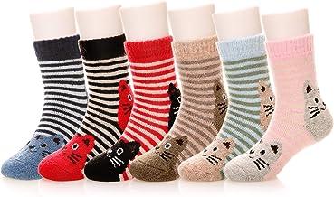 Eocom 6 Pairs Children`s Winter Warm Wool Animal Crew Socks Kids Boys Girls Socks