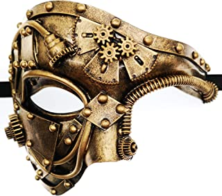 Copper Steampunk Half Face Mask Victorian Era Fancy Dress Costume Accessory