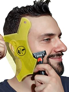 Beard Guide - Template for Men's Trimming - Shaper and Shaping Stencil for a Trimmer and Shaver - Yellow Transparency Beard Cut Liner Tool