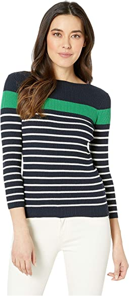 Petite Cotton-Blend Boat Neck Sweater