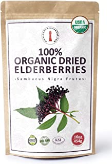 100% USDA Certified Organic Dried Elderberries - 1 lb Bulk European Whole Dry Black Elderberry - Wild Crafted, Raw, Non-ir...