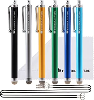 The Friendly Swede Bundle Micro-Knit Hybrid Fiber Tip Universal Capacitive Stylus Pens (Silver,Aqua Blue,Green,Dark Blue,Yellow,Black)