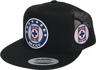Deportivo Cruz Azul Soccer 2 Logos hat Black mesh