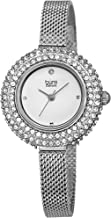 Burgi Swarovski Crystal Diamond Accented Watch - Sparkling Swarovski Crystals on Stainless Steel Slim Mesh Bracelet - Mothers Day Gift - BUR236