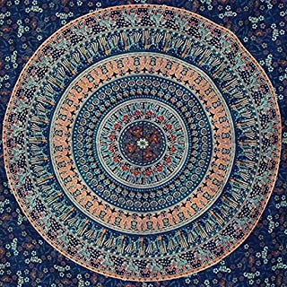 Blue Peacock Tapestry Elephant Mandala Tapestry Wall Hanging Hippie Tapestry Dorm Decor Bohemian Bedspread Bed Cover Beddi...