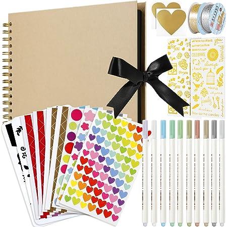 MojiDecor Album Photo Scrapbooking 80 Pages DIY Album Papier Craft, 29 cm L x 21.5 cm L mémoire Livre d'or de Mariage, Anniversaire de Mariage, Cadeaux de St Valentin