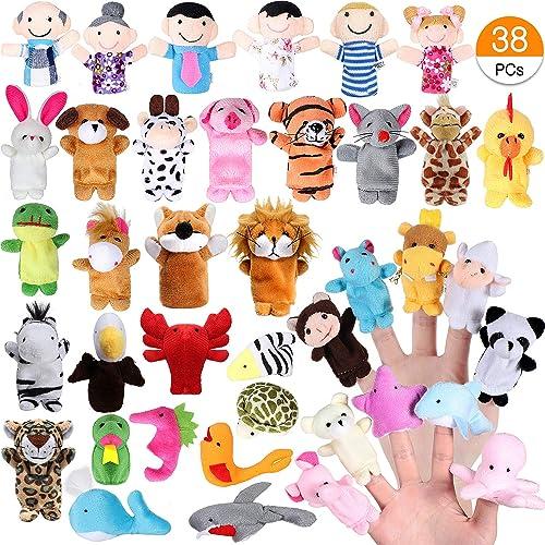 Joinfun 38pcs Marionnettes Doigt Enfants L'heure du Conte 32pcs Animaux Jouets 6pcs Personnes Membres de la Famille M...