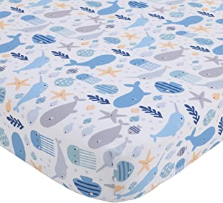 NoJo Underwater Adventure - Narwhals & Whales Navy, Grey & Light Blue Fitted Crib Sheet, Light Blue, Navy, Grey