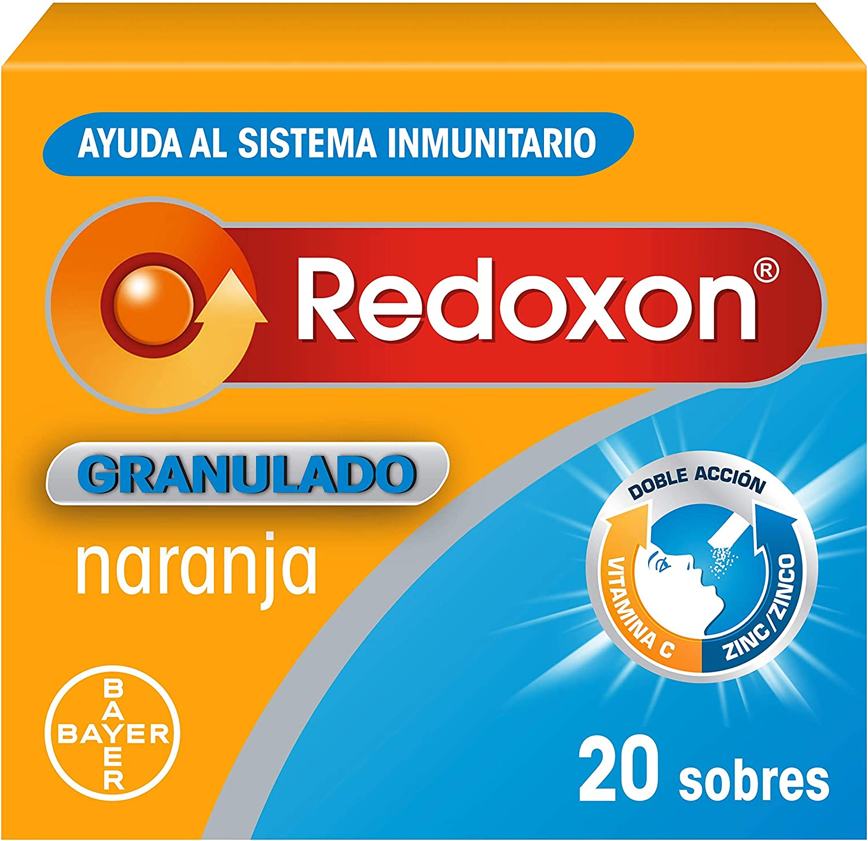 Redoxon Granulado Complemento Alimenticio con Vitamina C y Zinc, para una Doble Acción de Ayuda al Sistema Inmunitario, Sabor Naranja, 20 Sobres Granulados