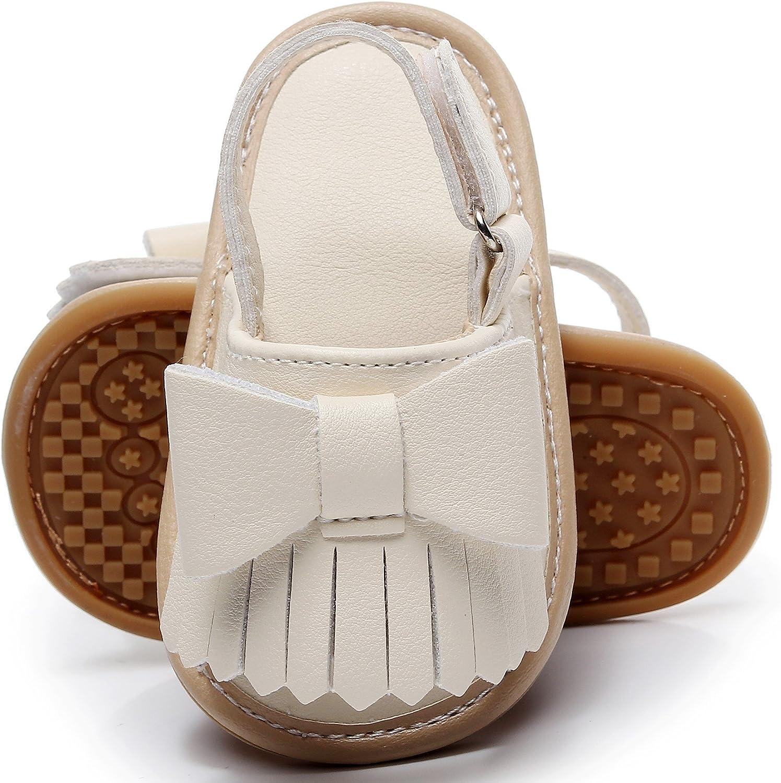 Bebila Baby Girls Boys Sandals Summer Baby Shoes PU Leather Rubber Sole Infant Toddler Moccasins(US