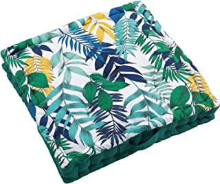 Douceur d'Intérieur Cojín de Suelo, 45 x 45 x 10 cm, algodón, diseño de Paja, Multicolor, 60 x 60 x 10 cm