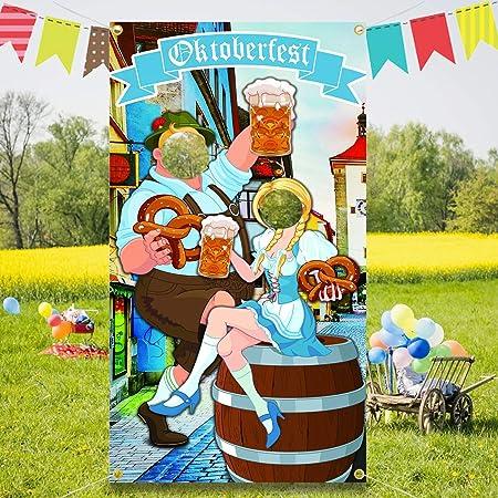 Oktoberfest Photo Prop,Oktoberfest Party Decorations,Fondo de Fotomatón de Tela,Divertidos de Oktoberfest para el Festival,Banner de Puerta de Foto