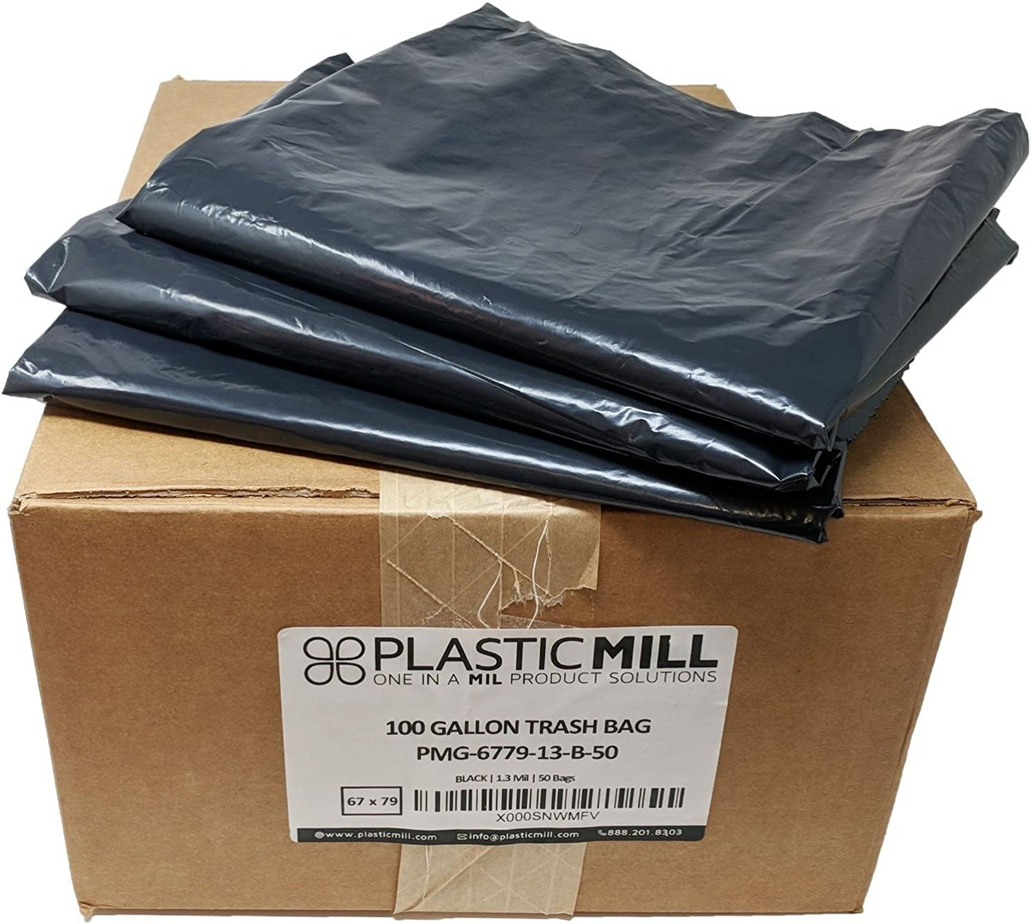 PlasticMill 100 Gallon, Black, 1.3 Mil, 67x79, 50 Bags Case, Gang Folded, Garbage Bags Trash Can Liners.