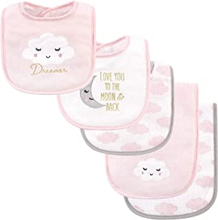 Hudson Baby baby-girls Bib and Burp Cloth Set Bandana