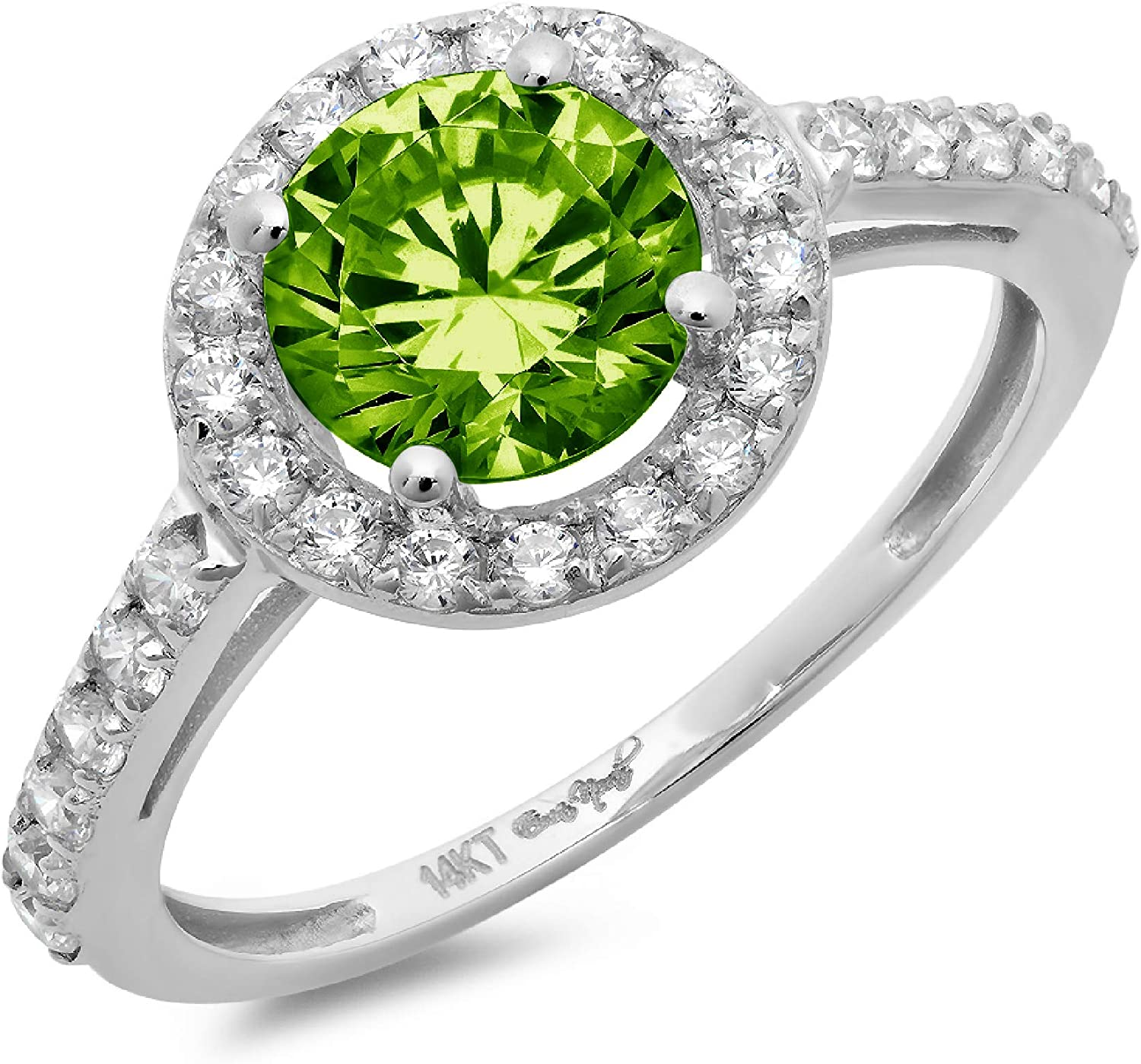 2.40 ct Brilliant Round Cut Solitaire accent Halo Designer Genuine Natural Green Peridot Gemstone Ideal VVS1 Engagement Promise Statement Anniversary Bridal Wedding Ring 14k White Gold
