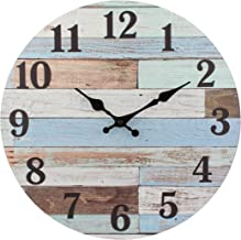 Stonebriar Worn Blue Vintage Coastal 14 Inch Round Hanging Clock, Battery Operated, Rustic Wall Decor for The Living Room,...